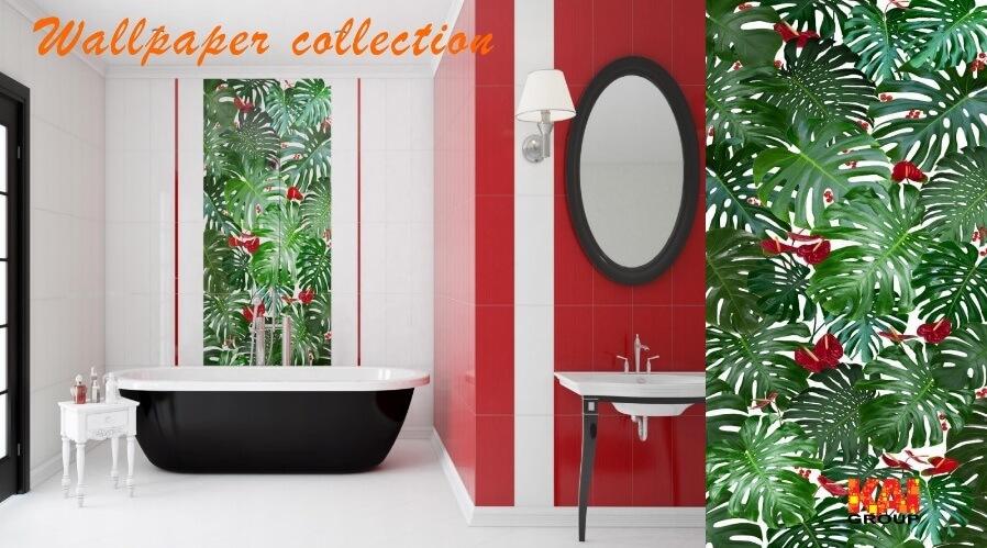 Свежие и красочные фотобои... в ванной!