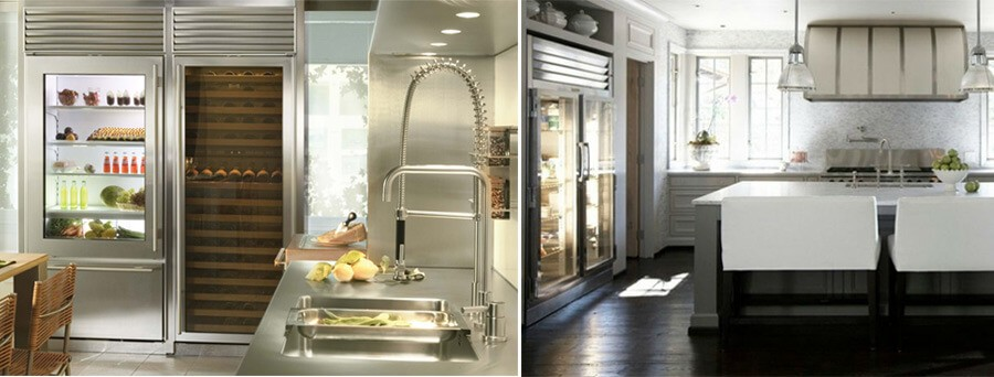 Холодильники со стеклянными дверями – на кухне
