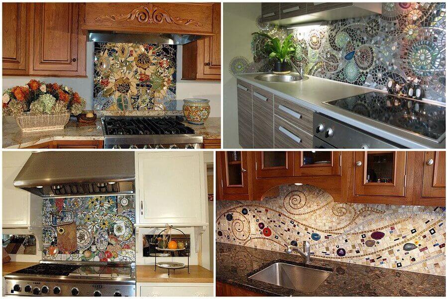 Кухонная рабочая стенка из мозаики